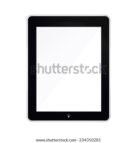 Black Tablet mockup Isolated On White background with blank screen. Vector illustration EPS10 - stock vector
