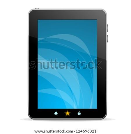 Black tablet on white background - stock vector