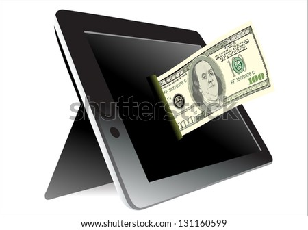 Black tablet pc with dollar on white background