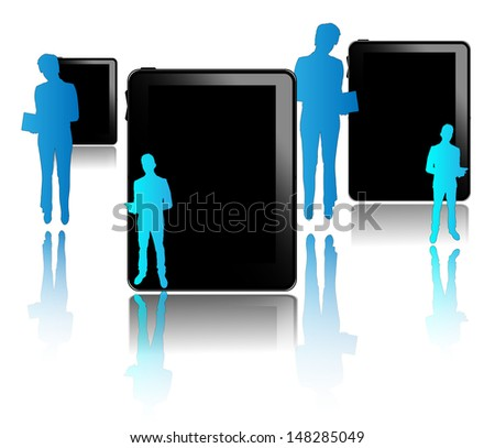 Black tablets with blue businessmen isolated on white background - stock vector