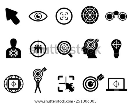 black target icons set - stock vector