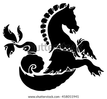Black tattoo horse on a white background. Victorian style, vintage. Emblem, symbol. - stock vector
