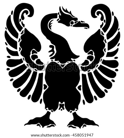 Black Tattoo Eagle On White Background Stock Vector 458051947