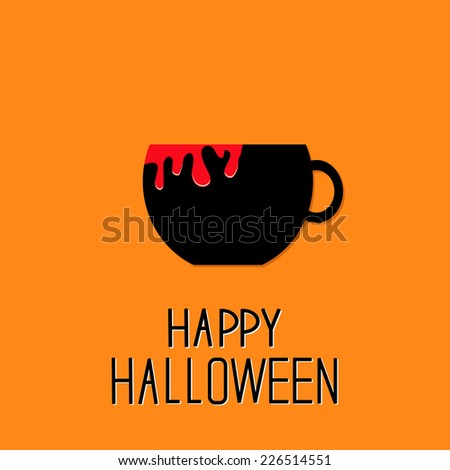 Black tea cup with red blood. Happy Halloween card. Flat design. Vector illustration - stock vector
