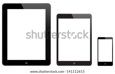 Black Technology Gadgets Similar To iPad - stock vector