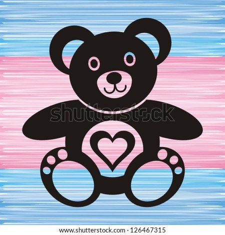 black teddy bear with heart on blue and pink background - stock vector