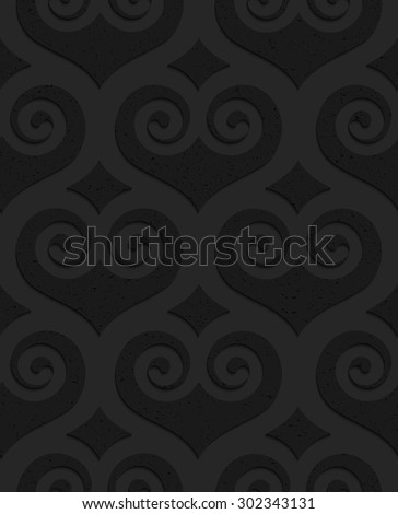 Black textured plastic swirly hearts with diamonds. Seamless abstract geometrical pattern with 3d effect. Background with realistic shadows and layering. - stock vector
