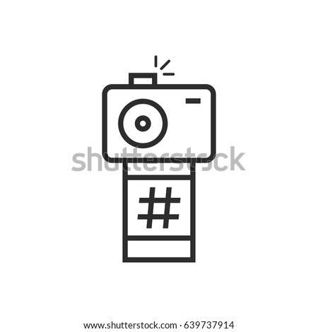 Black Thin Line Camera Photo Frame Stock Vector 639737914 - Shutterstock