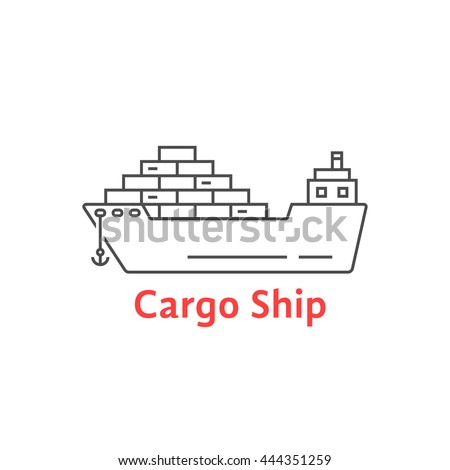 black thin line cargo ship icon. concept of seaport emblem, voyage, shipbuilding, trip, anchor. flat outline style trend modern logotype template design art vector illustration on white background - stock vector