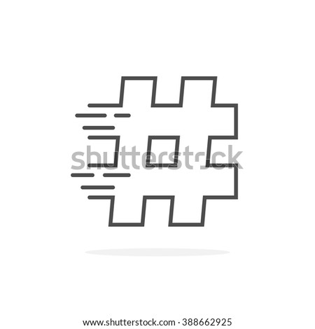 black thin line hashtag with shadow. concept of single mark, lattice, information, pr, popularity, timeline, commerce. flat style trend modern logotype design vector illustration on white background - stock vector