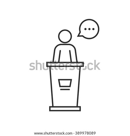 black thin line speaker podium. concept of award, report, briefing stand, teacher, stage, president, lecture, motivation. linear style trend modern logo design vector illustration on white background - stock vector