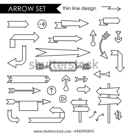 Black thin line stroke arrows set, blank spaces for short message