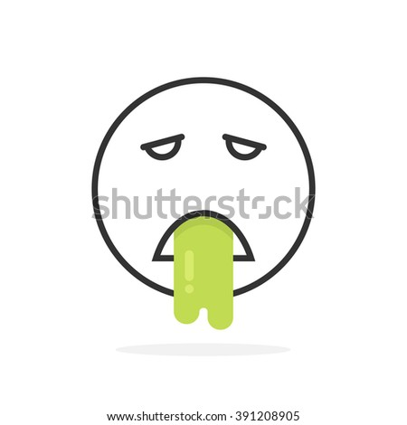 black thin line vomits emoji icon. concept of nauseous, facial avatar, stomach, medical care, unwell, vertigo, ache. flat style trend modern logotype design vector illustration on white background - stock vector