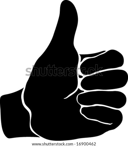 black thumbs up finger okay sign. vector illustration