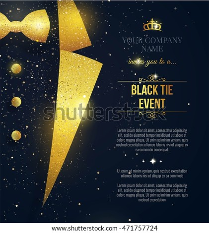 Black Tie Event Invitation Elegant Black Stock Vector