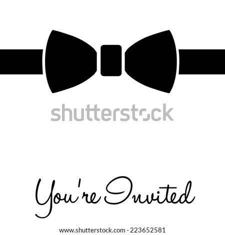Black tie event your invited, on white, vector illustration - stock vector