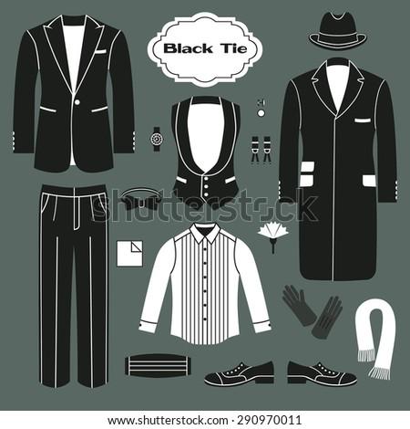 Black Tie. Set of clothing for men. Dress code for gentlemen. - stock vector