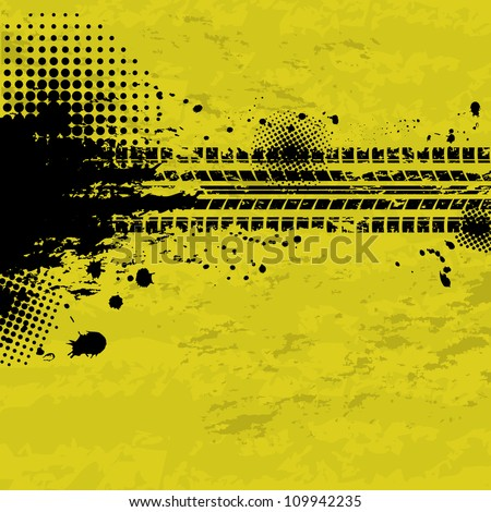Black tire track banner on yellow background - stock vector
