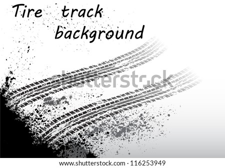 Black tire track on white background - stock vector