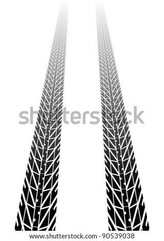 Black tire tread fading into distance - stock vector