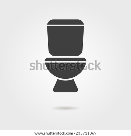 black toilet icon with shadow. isolated on stylish background. modern vector illustration - stock vector