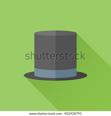 Black top hat flat icon with long shadow on green background. Cylinder gentleman hat. Vector illustration. - stock vector