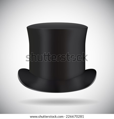 Black top hat isolated on white  - stock vector