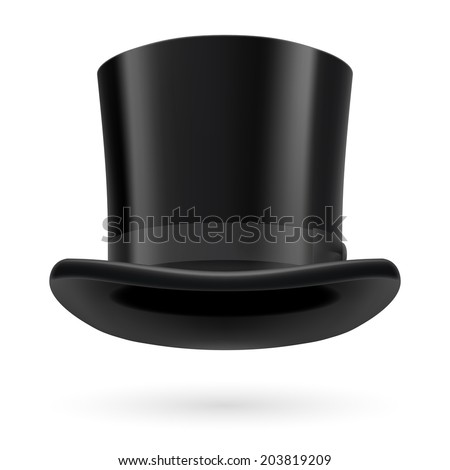 Black top hat on the white background. - stock vector