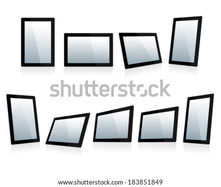 Black Touch Screen Tablets In iPad Style - All the Screens have a Layer Clipping Mask in the Vector File - stock vector