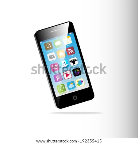 Black Touchscreen smartphone isolated on white background - stock vector