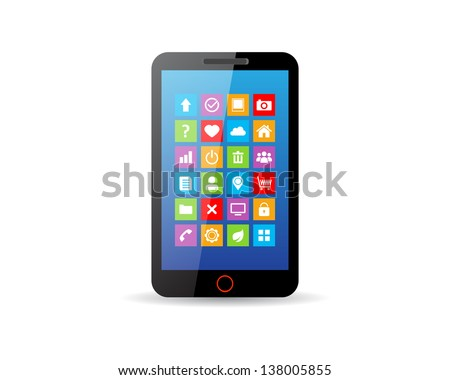Black touchscreen smartphone with app icons - stock vector