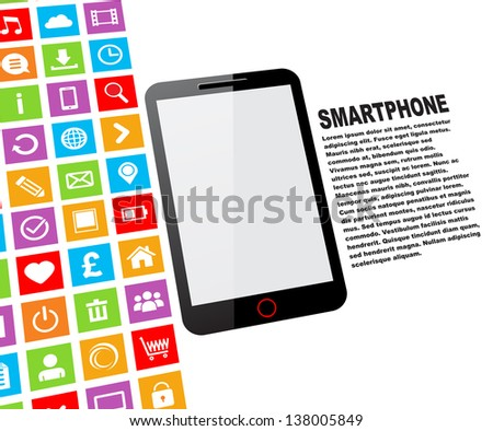 Black touchscreen smartphone with blank screen and colorful app icons - stock vector