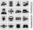 Black traffic and driving icons set. - stock photo