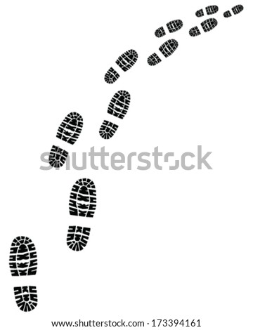 Black trail of shoes prints,  turn right - stock vector