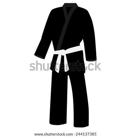 Black training kimono with white belt karate sport vector isolated - stock vector