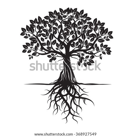 Black Tree and Roots. Vector Illustration. - stock vector