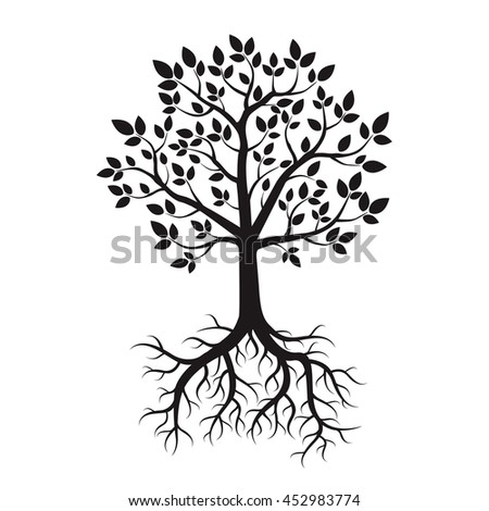 black tree roots vector illustration stock vector 2018 452983774 rh shutterstock com tree roots vector ai tree roots silhouette vector
