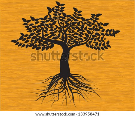 black tree silhouette isolated on background wood, vector - stock vector