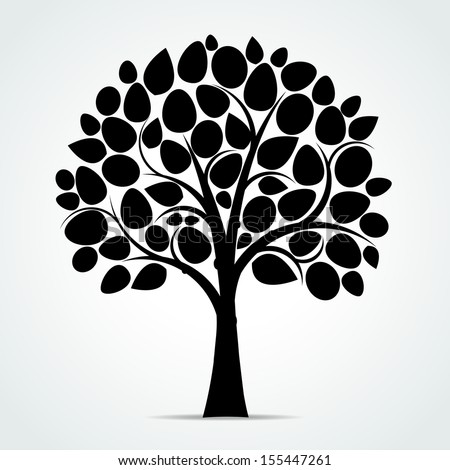 Black tree silhouette - Vector illustration - stock vector