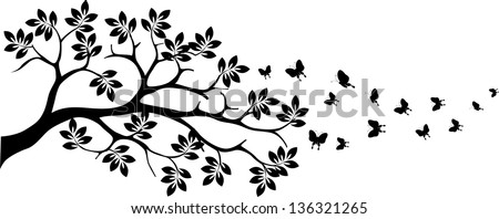 black tree silhouette with butterfly flying - stock vector