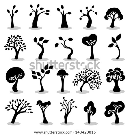 Black trees set - stock vector