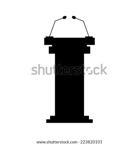 black tribune icon with microphones. isolated on white background. modern vector illustration - stock vector