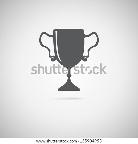 black trophy icon, Vector  illustration - stock vector