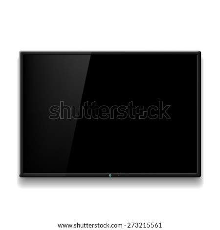Black TV hanging on white wall. Vector image. - stock vector