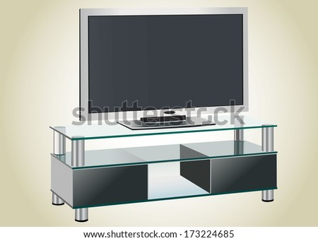 Black TV stands on a glass shelf