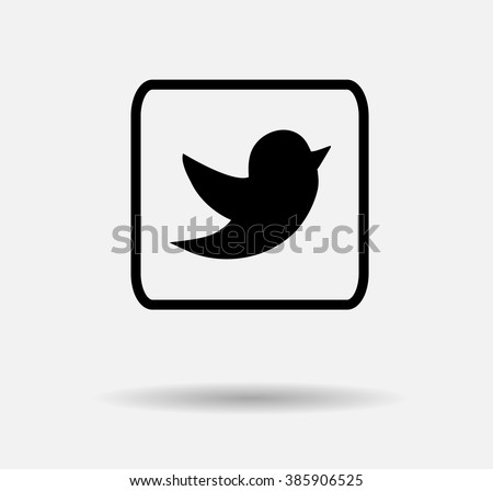 Black Tweet Bird Vector Logo, JPG, JPEG, EPS.Twitter Icon Button.Flat Social Media Twiter Sign