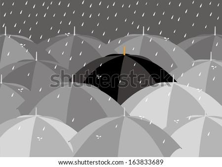 Black umbrella among lighter colour umbrellas  - stock vector