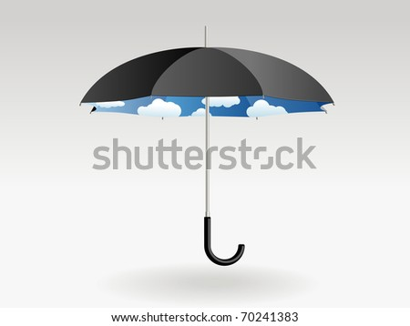 Black umbrella with clouds and blue sky inside on a grey background - stock vector