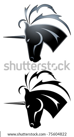 Black unicorn symbol in a tattoo style - stock vector