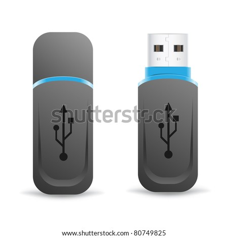 black universal flash drive isolated on the white background - stock vector